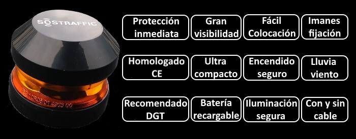 Características de la baliza V16 luz de emergencia SoSTraffic