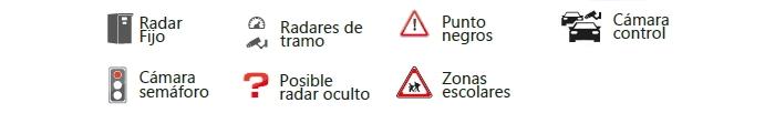 Avisador de radares Lince III: Tipos de avisos soportados