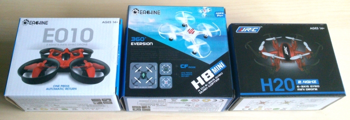 Las cajas de JJRC H20, Eachine H8 Mini y Eachine E010