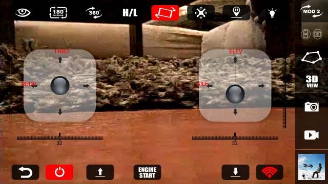 Opciones de la aplicación móvil de control