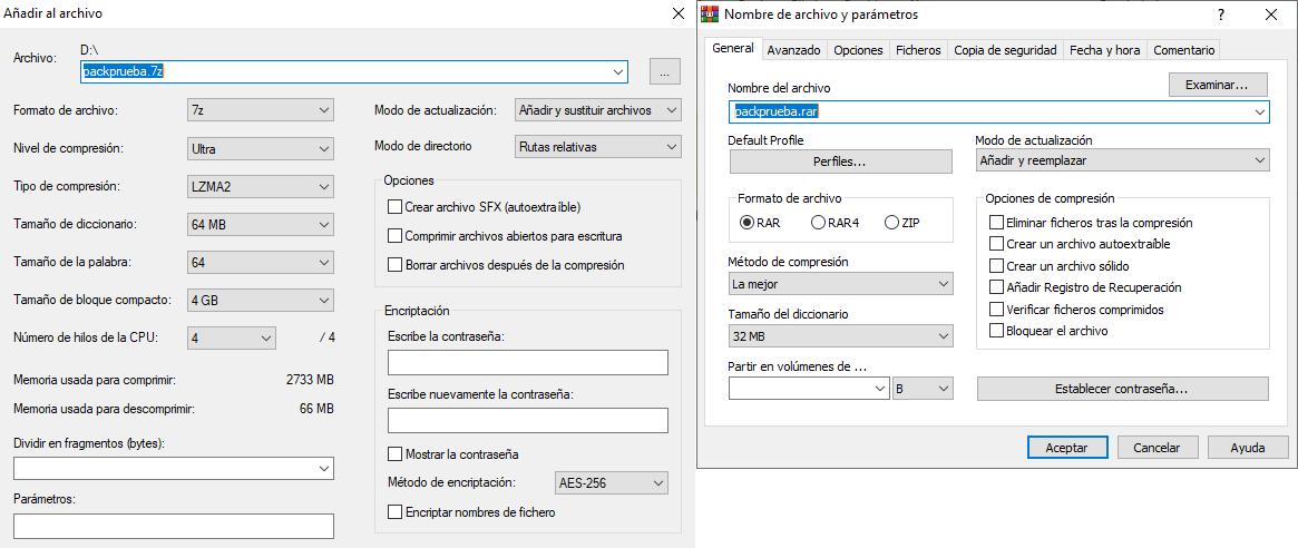7-Zip vs WinRAR: Opciones de compresión