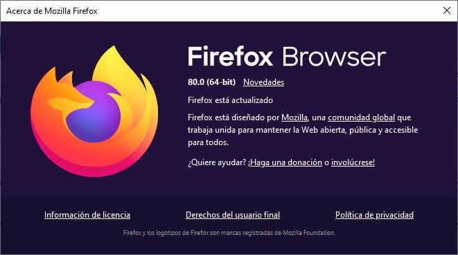 Mozilla Firefox actualiza el navegador a la versión 80