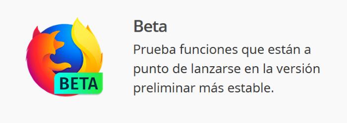 Diferencias entre las cuatro versiones de Firefox para escritorio: Versión Beta