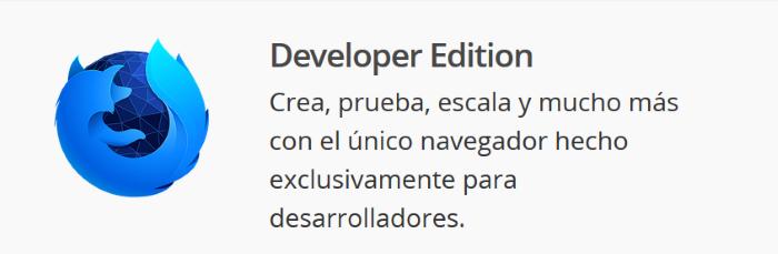 Diferencias entre las cuatro versiones de Firefox para escritorio: Versión Developer Edition
