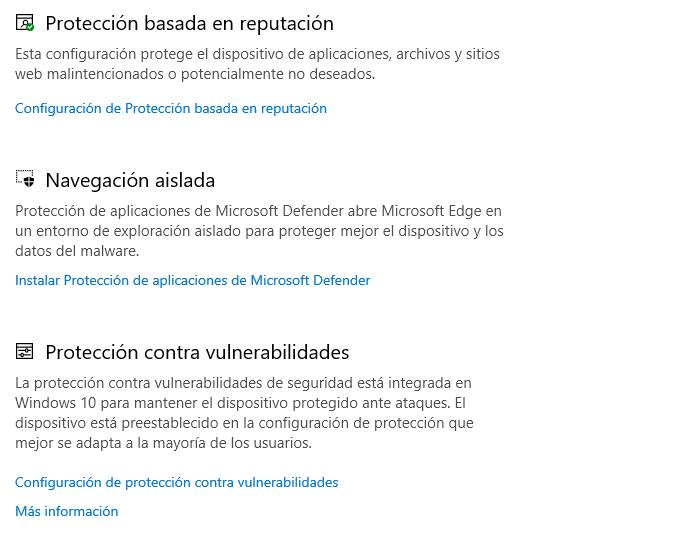 Configuración de Microsoft Defender para Windows 10