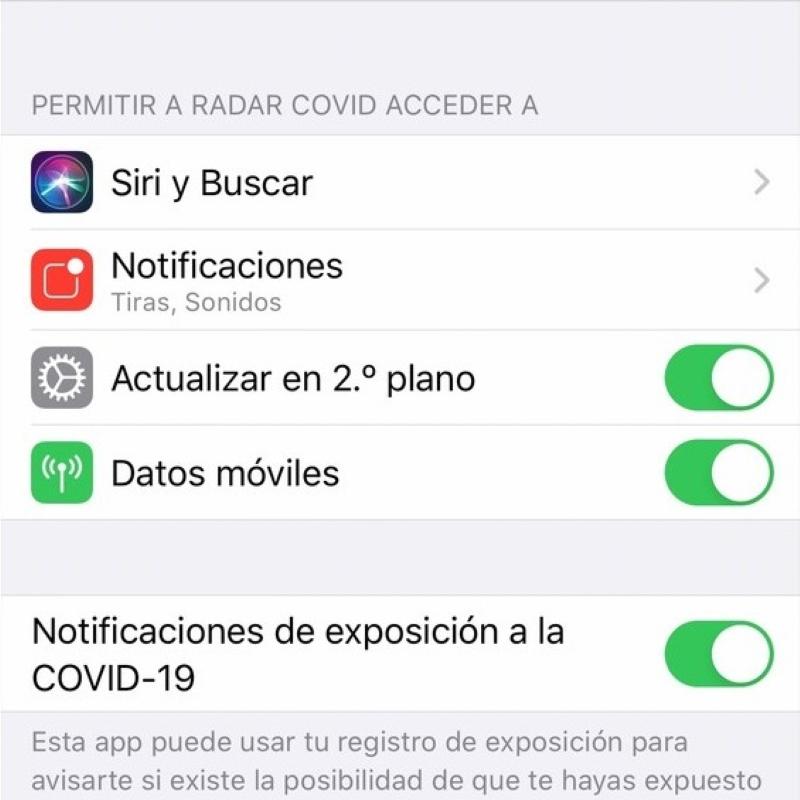 Aplicación de rastreo Radar Covid - Permisos iOS