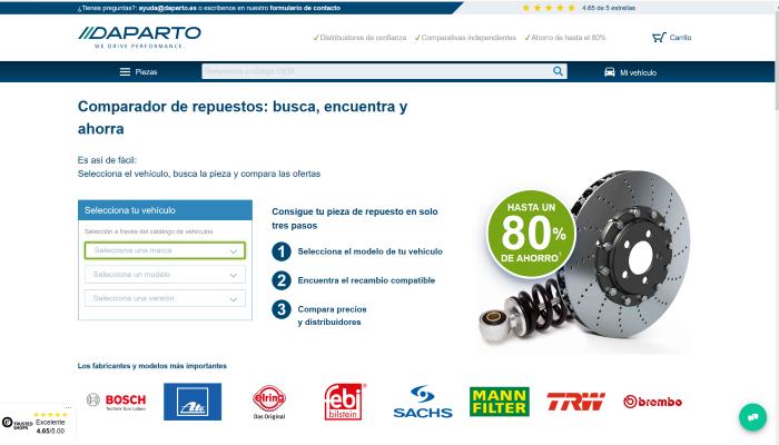 Daparto afianza el concepto de marketplace en la venta de recambios online