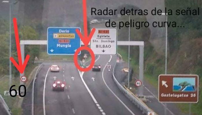 Nuevo radar fijo de tipo Multaradar en poste en la salida de la N-637 concretamente en la desviación Mungia/Santo Domingo (Bizkaia)