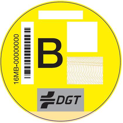 Etiqueta medioambiental DGT B Amarilla