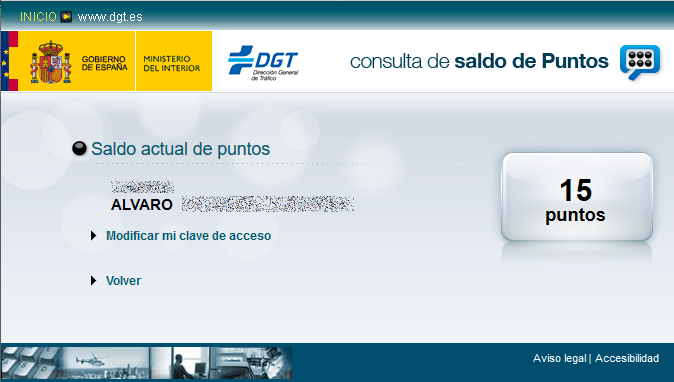 Consulta de puntos en la web de la DGT del carnet de conducir
