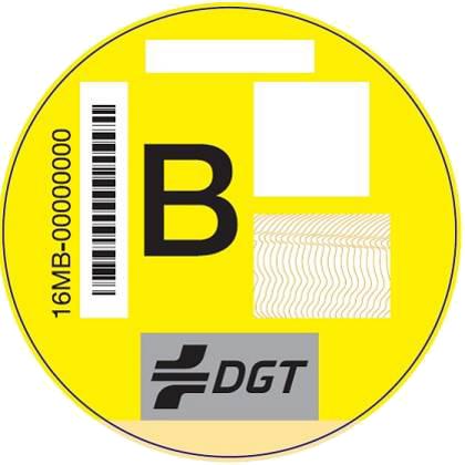 Etiqueta medioambiental B Amarilla