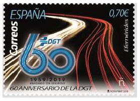 CORREOS se une a la celebración del 60 aniversario de la DGT con la emisión de un sello